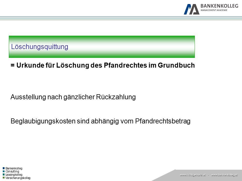 Löschungsquittung = Urkunde für Löschung des Pfandrechtes im Grundbuch. Ausstellung nach gänzlicher Rückzahlung.