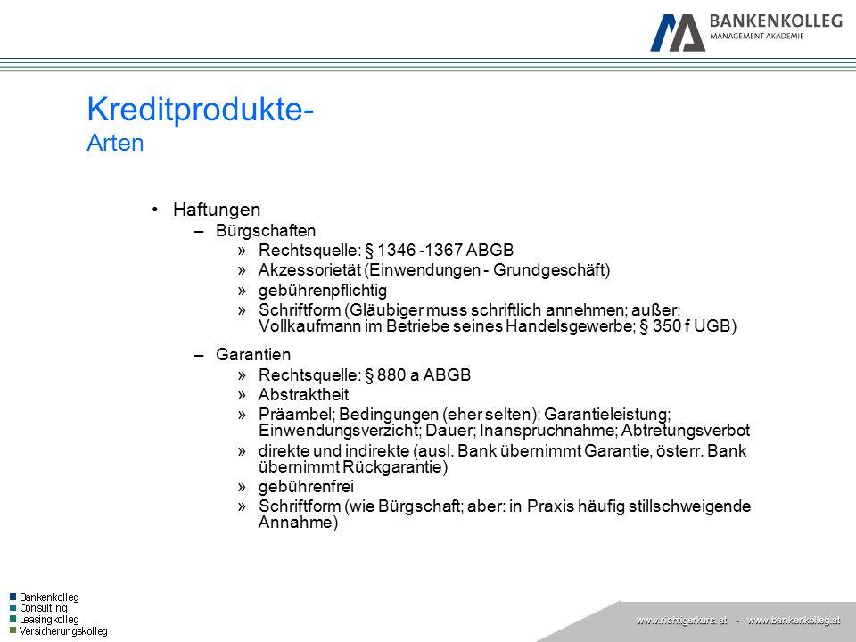 Kreditprodukte- Arten