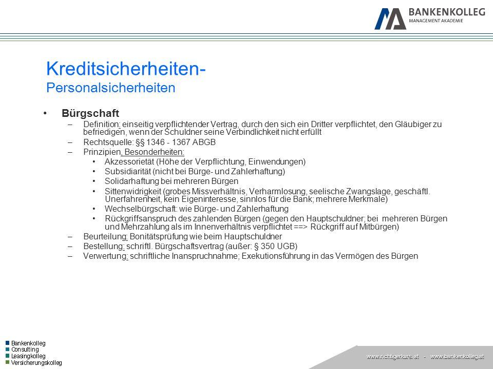 Kreditsicherheiten- Personalsicherheiten