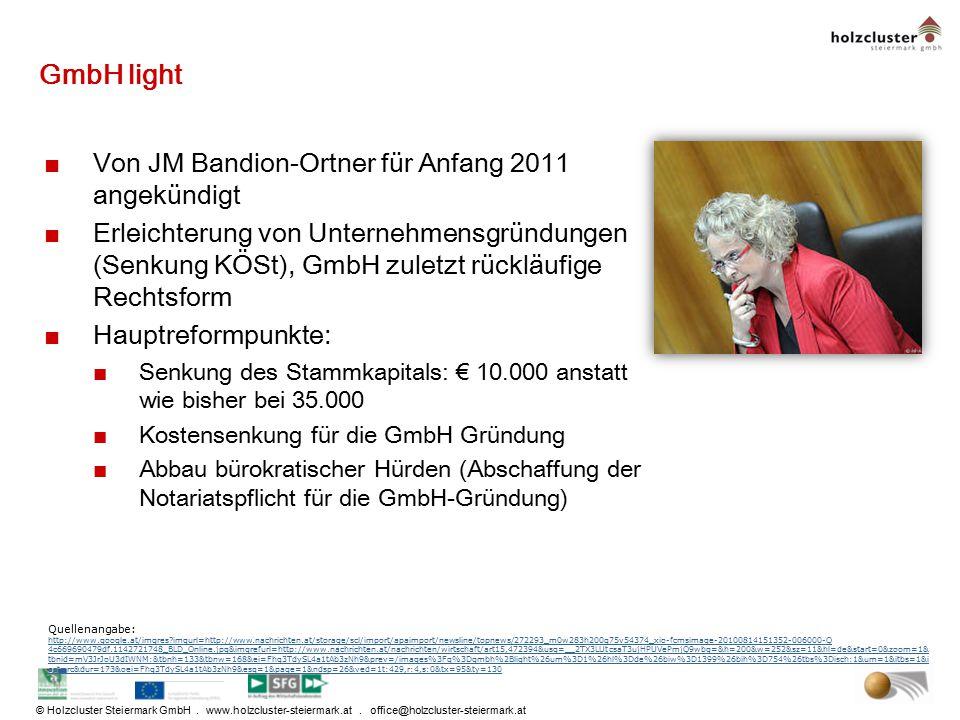 GmbH light Von JM Bandion-Ortner für Anfang 2011 angekündigt