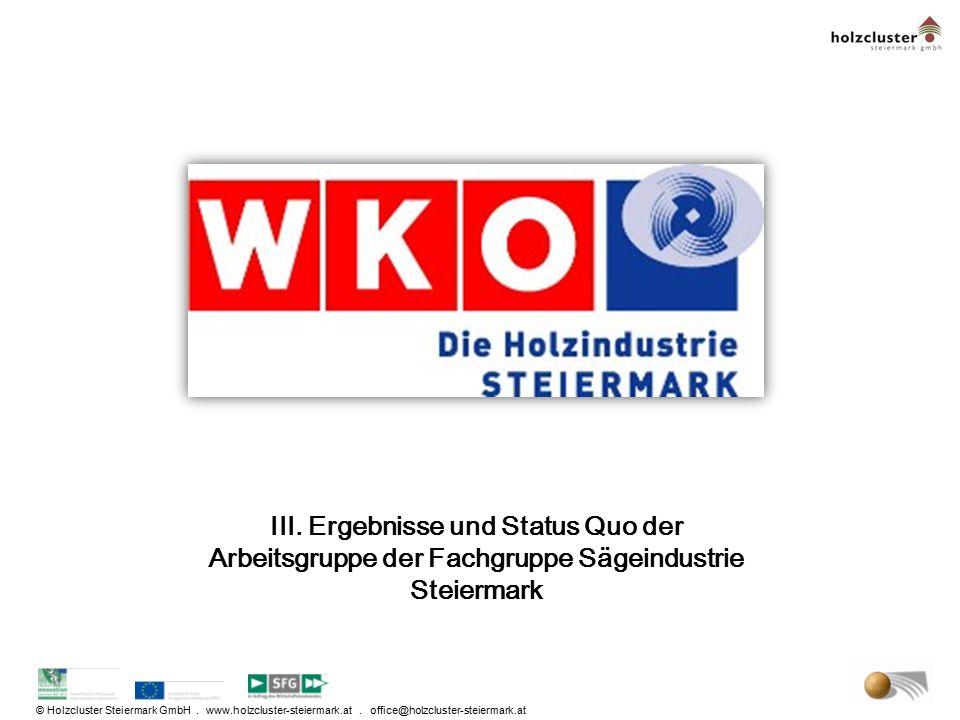 III. Ergebnisse und Status Quo der Arbeitsgruppe der Fachgruppe Sägeindustrie Steiermark