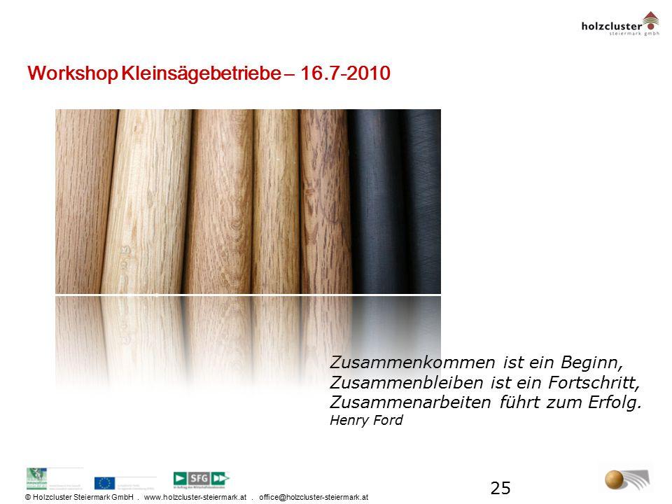 Workshop Kleinsägebetriebe – 16.7-2010