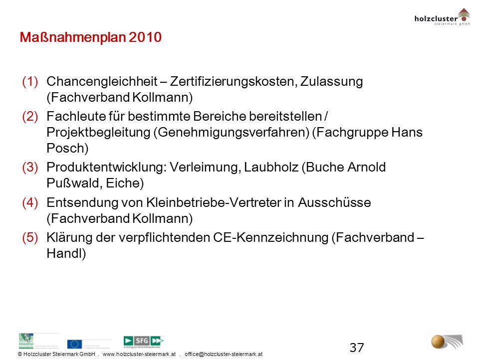 Maßnahmenplan 2010 Chancengleichheit – Zertifizierungskosten, Zulassung (Fachverband Kollmann)