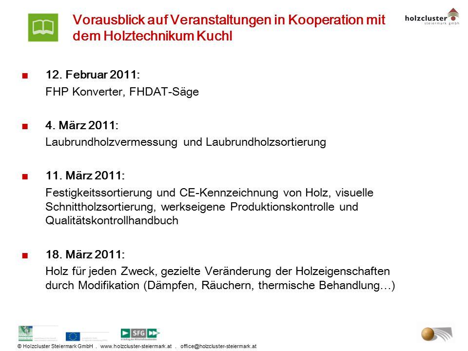 Vorausblick auf Veranstaltungen in Kooperation mit dem Holztechnikum Kuchl