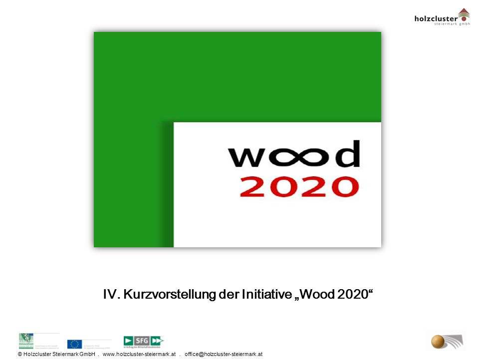 "IV. Kurzvorstellung der Initiative ""Wood 2020"