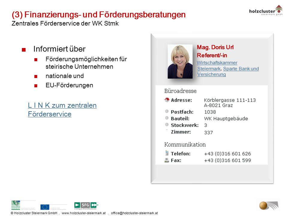 (3) Finanzierungs- und Förderungsberatungen Zentrales Förderservice der WK Stmk