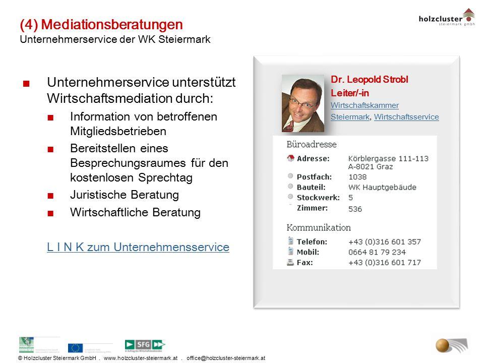 (4) Mediationsberatungen Unternehmerservice der WK Steiermark