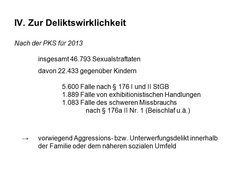 IV. Zur Deliktswirklichkeit Nach der PKS für 2013. insgesamt 46