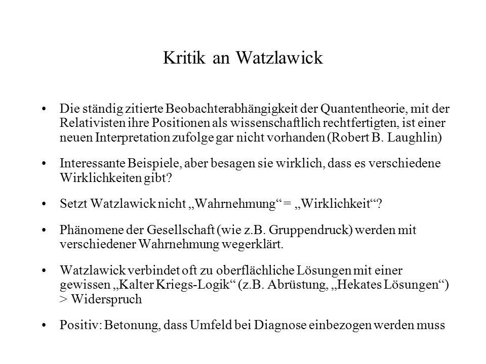 Kritik an Watzlawick