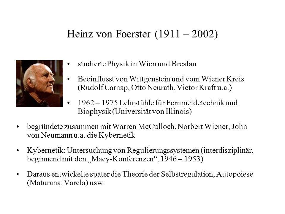 Heinz von Foerster (1911 – 2002) studierte Physik in Wien und Breslau