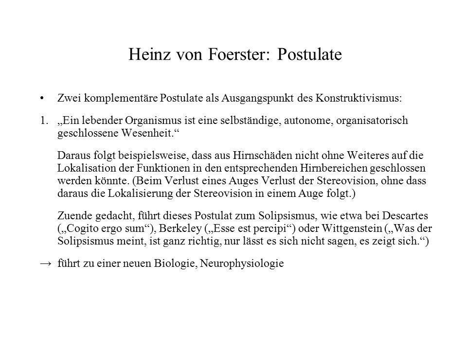 Heinz von Foerster: Postulate