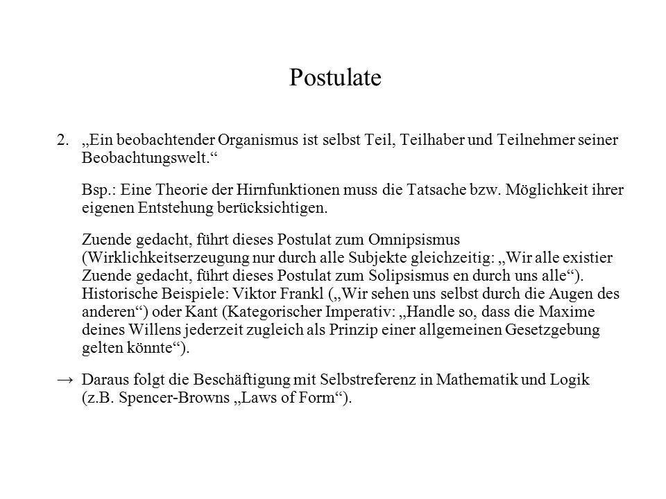 """Postulate 2. """"Ein beobachtender Organismus ist selbst Teil, Teilhaber und Teilnehmer seiner Beobachtungswelt."""