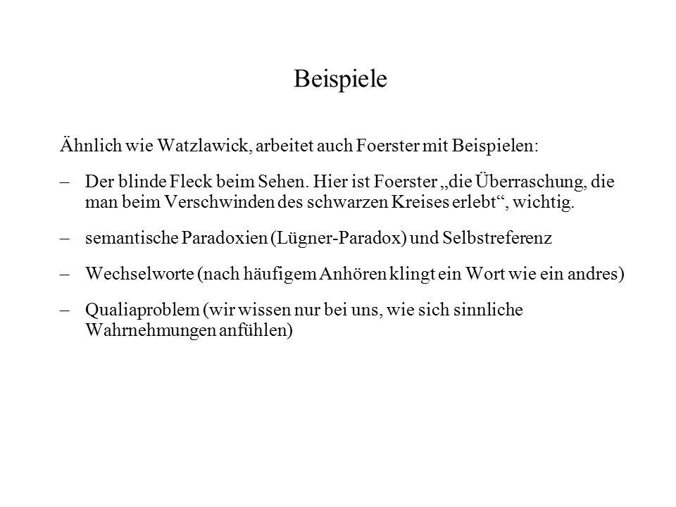 Beispiele Ähnlich wie Watzlawick, arbeitet auch Foerster mit Beispielen: