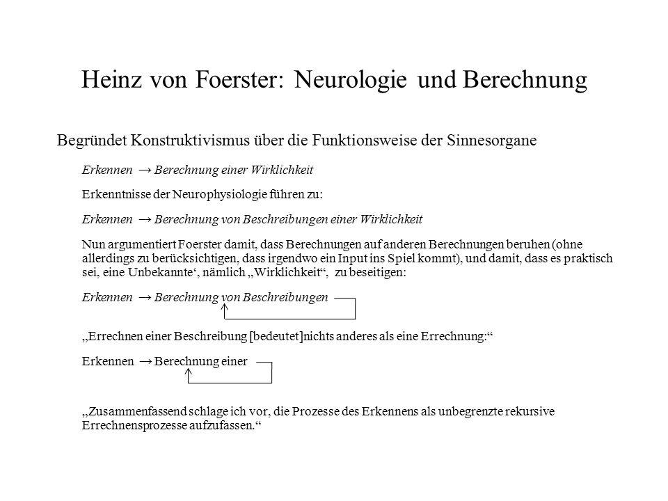 Heinz von Foerster: Neurologie und Berechnung