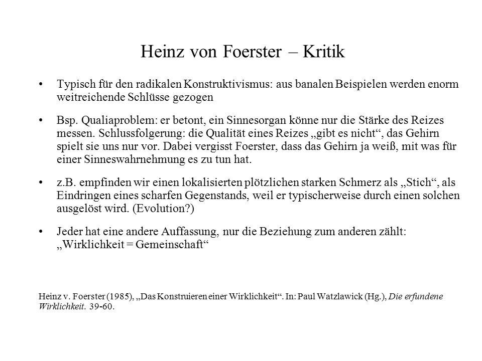 Heinz von Foerster – Kritik