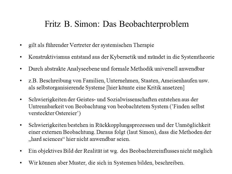Fritz B. Simon: Das Beobachterproblem