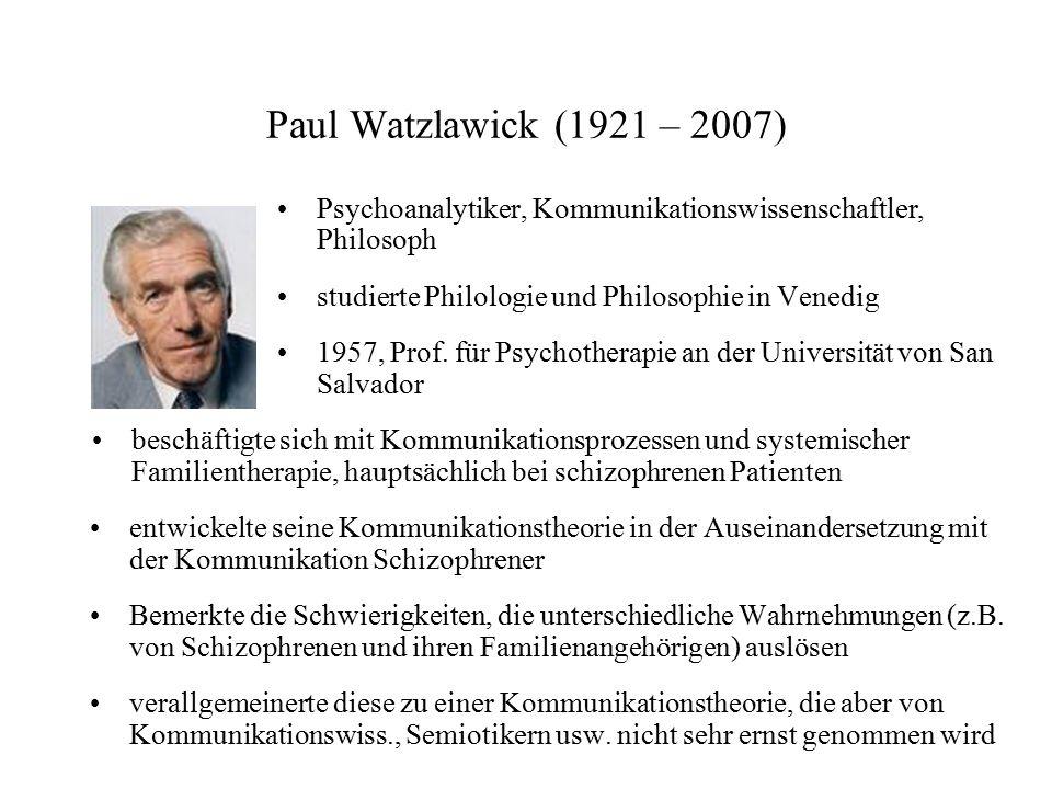 Paul Watzlawick (1921 – 2007) Psychoanalytiker, Kommunikationswissenschaftler, Philosoph. studierte Philologie und Philosophie in Venedig.