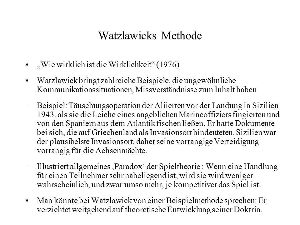 """Watzlawicks Methode """"Wie wirklich ist die Wirklichkeit (1976)"""