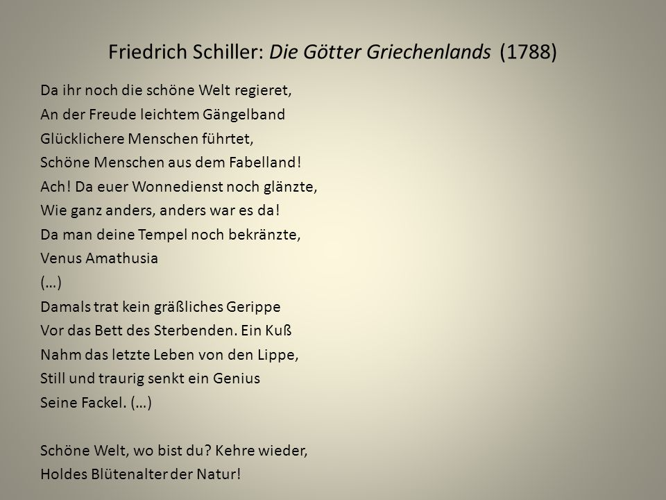 Friedrich Schiller: Die Götter Griechenlands (1788)