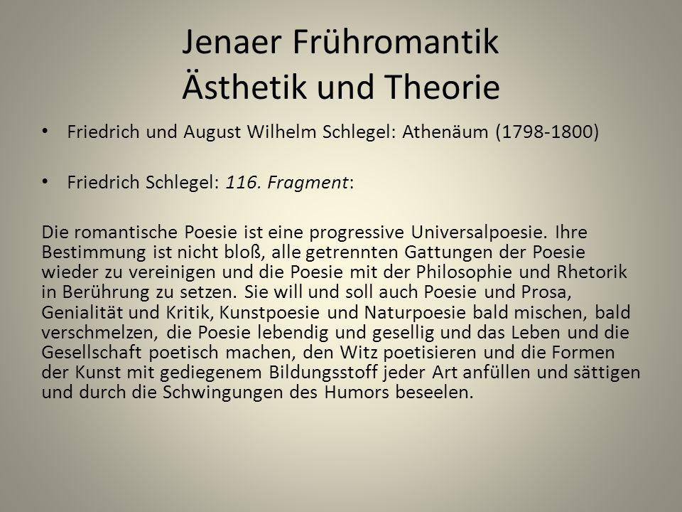 Jenaer Frühromantik Ästhetik und Theorie