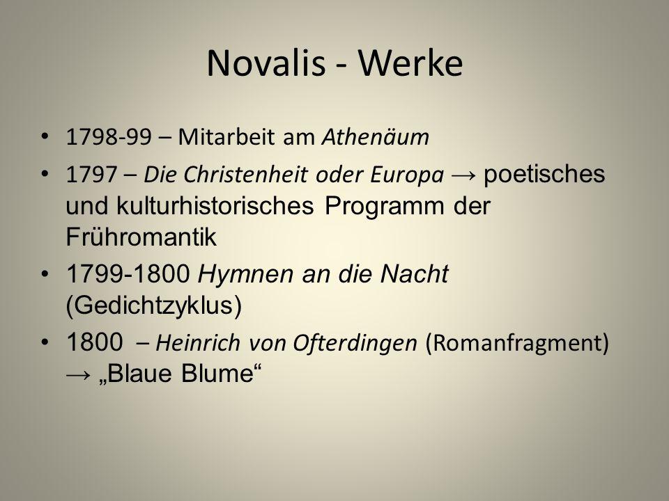 Novalis - Werke 1798-99 – Mitarbeit am Athenäum