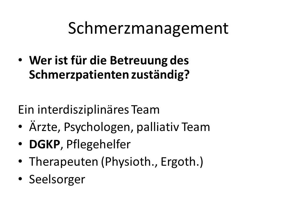 Schmerzmanagement Wer ist für die Betreuung des Schmerzpatienten zuständig Ein interdisziplinäres Team.