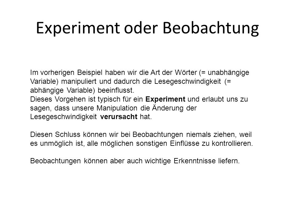 Experiment oder Beobachtung