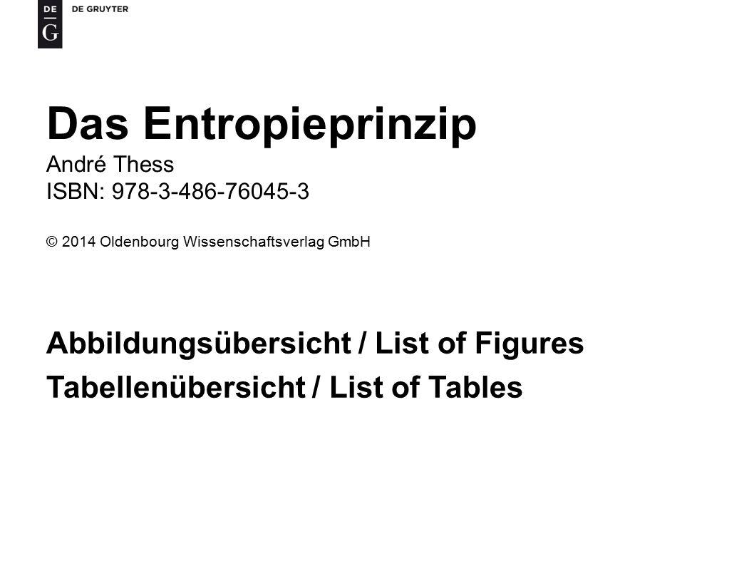 Das Entropieprinzip Abbildungsübersicht / List of Figures