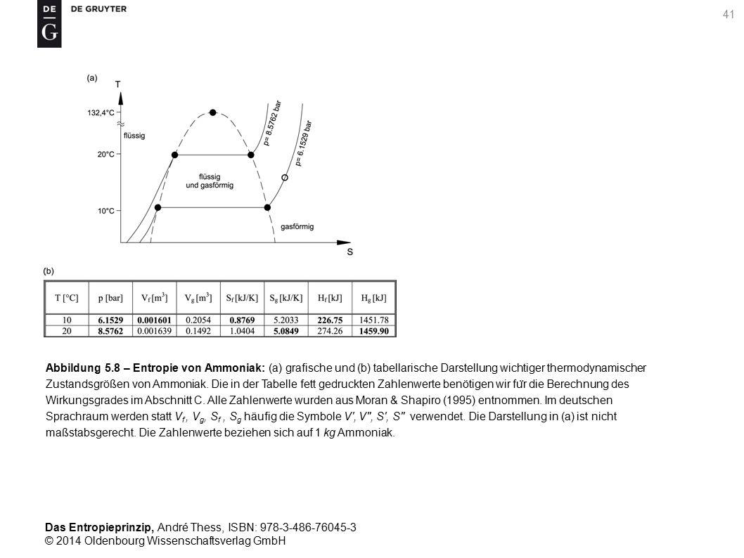 Abbildung 5.8 – Entropie von Ammoniak: (a) grafische und (b) tabellarische Darstellung wichtiger thermodynamischer Zustandsgrößen von Ammoniak.