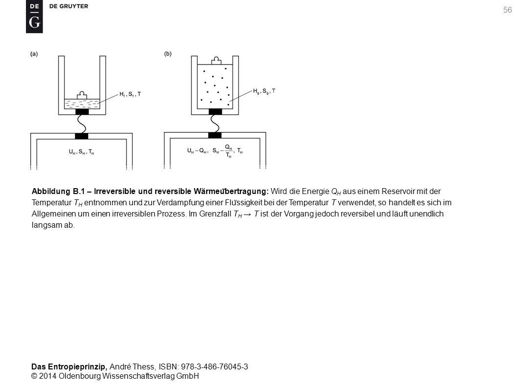 Abbildung B.1 – Irreversible und reversible Wärmeübertragung: Wird die Energie QH aus einem Reservoir mit der Temperatur TH entnommen und zur Verdampfung einer Flüssigkeit bei der Temperatur T verwendet, so handelt es sich im Allgemeinen um einen irreversiblen Prozess.