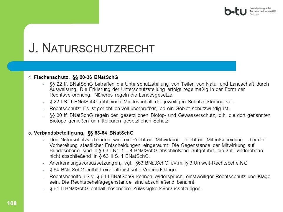 J. Naturschutzrecht 4. Flächenschutz, §§ 20-36 BNatSchG