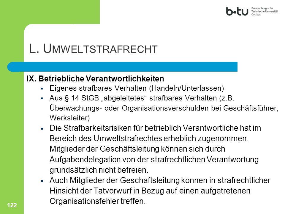 L. Umweltstrafrecht IX. Betriebliche Verantwortlichkeiten