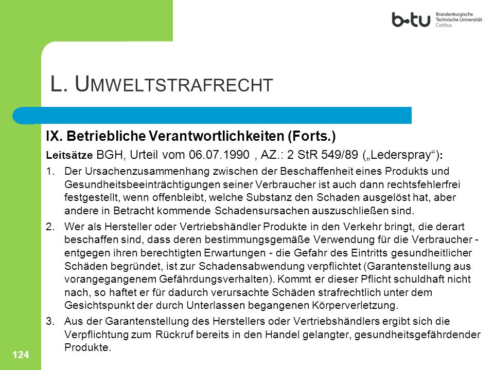 L. Umweltstrafrecht IX. Betriebliche Verantwortlichkeiten (Forts.)
