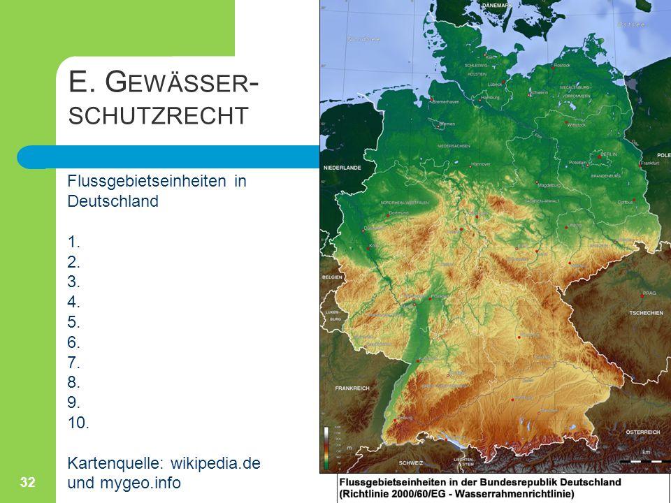 E. Gewässer- schutzrecht