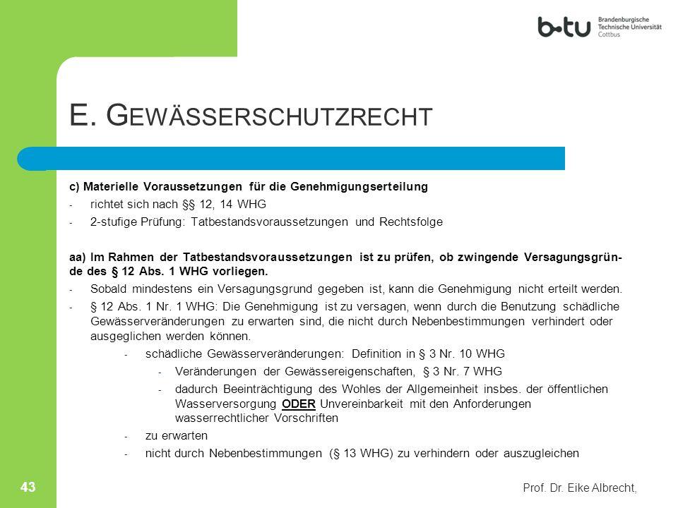 E. Gewässerschutzrecht