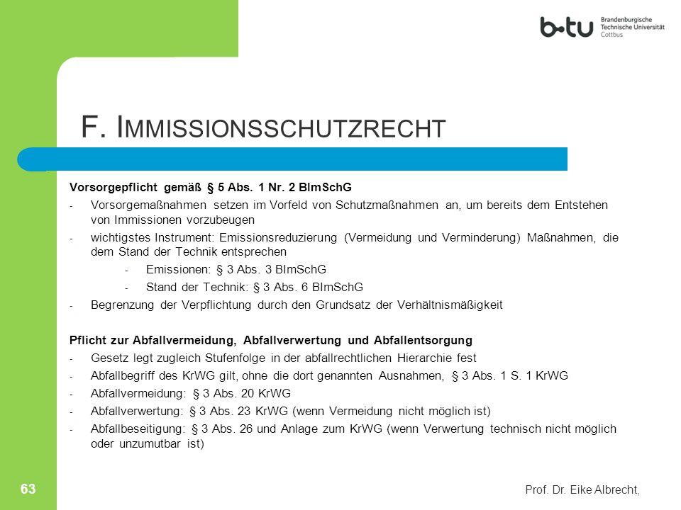 F. Immissionsschutzrecht