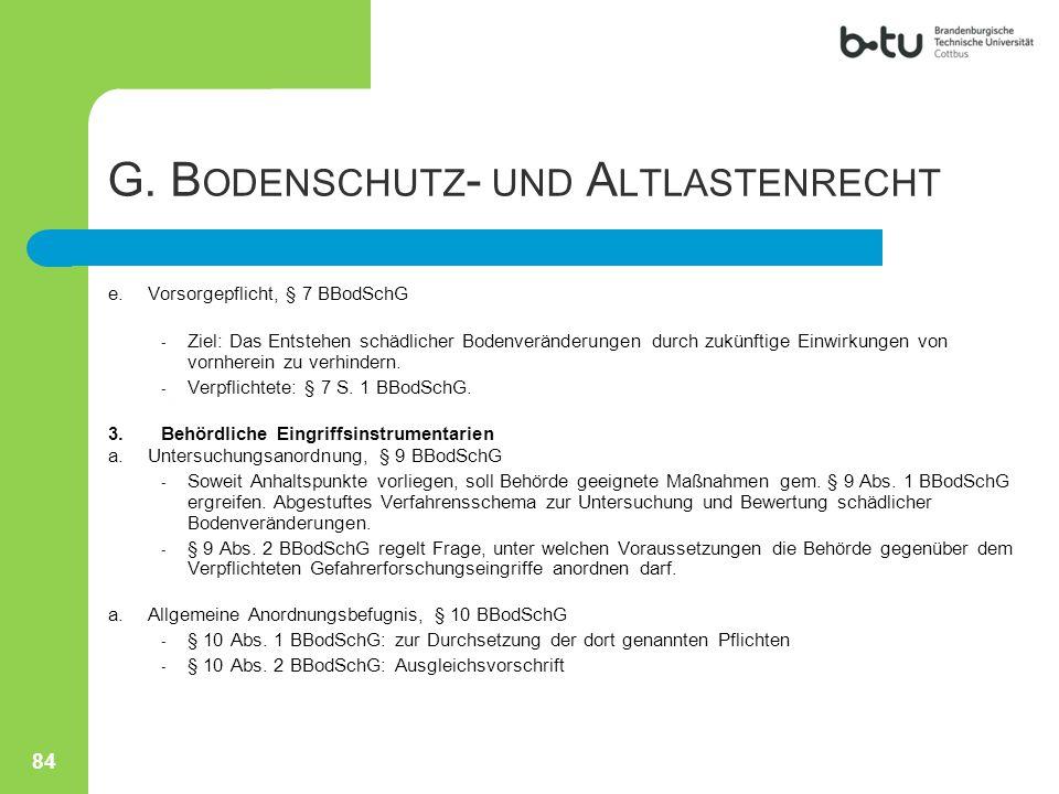 G. Bodenschutz- und Altlastenrecht