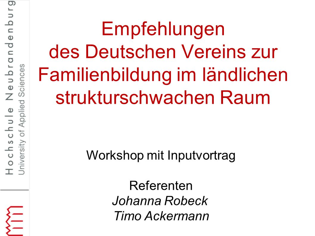 Workshop mit Inputvortrag