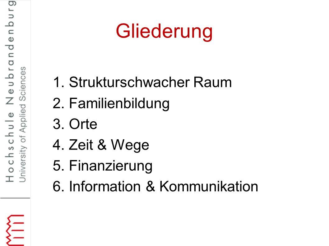 Gliederung 1. Strukturschwacher Raum 2. Familienbildung 3. Orte