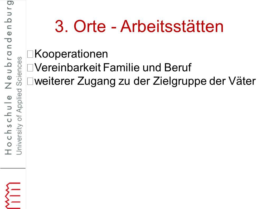 3. Orte - Arbeitsstätten Kooperationen Vereinbarkeit Familie und Beruf