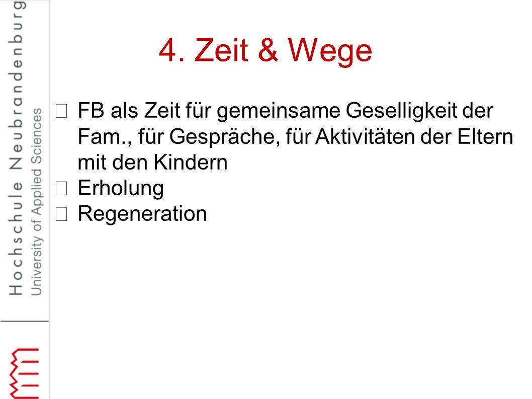 4. Zeit & Wege FB als Zeit für gemeinsame Geselligkeit der Fam., für Gespräche, für Aktivitäten der Eltern mit den Kindern.