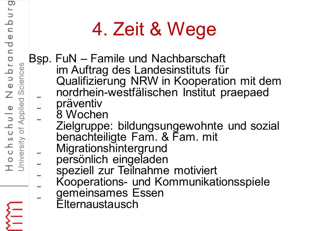 4. Zeit & Wege Bsp. FuN – Famile und Nachbarschaft