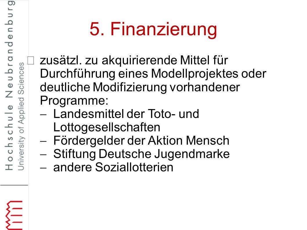 5. Finanzierung zusätzl. zu akquirierende Mittel für Durchführung eines Modellprojektes oder deutliche Modifizierung vorhandener Programme: