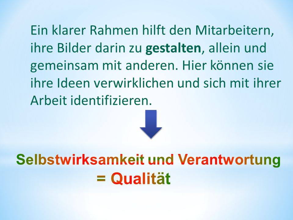 = Qualität Ein klarer Rahmen hilft den Mitarbeitern,
