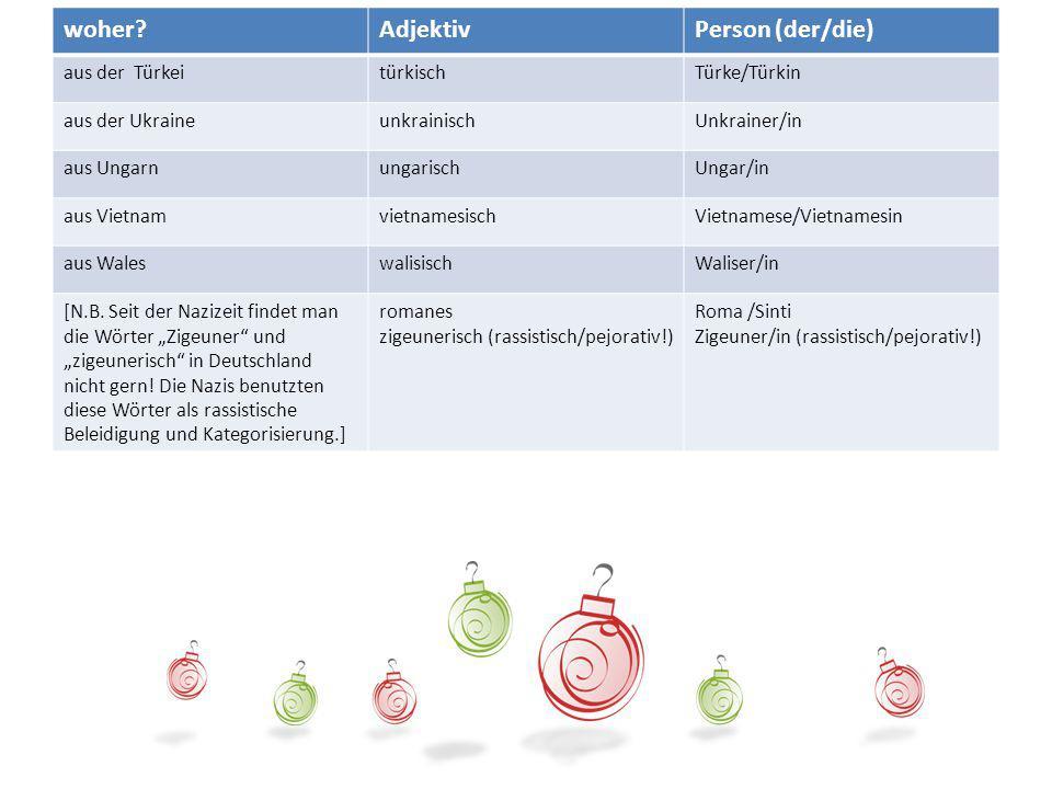 Die Herkunft woher Adjektiv Person (der/die) aus der Türkei türkisch