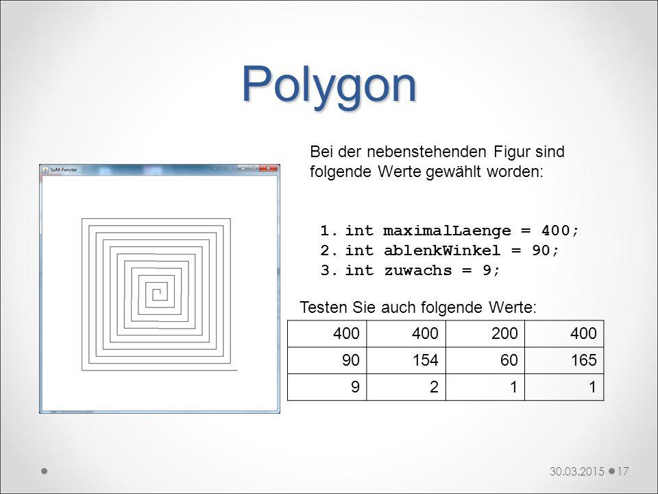 Polygon Bei der nebenstehenden Figur sind folgende Werte gewählt worden: int maximalLaenge = 400; int ablenkWinkel = 90;
