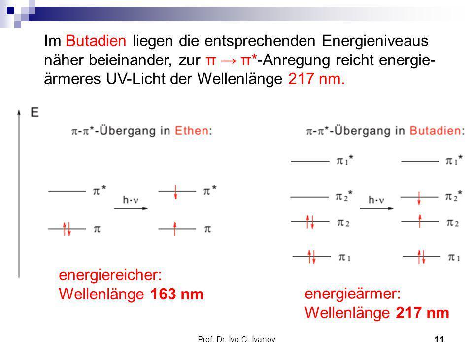 energiereicher: Wellenlänge 163 nm energieärmer: Wellenlänge 217 nm