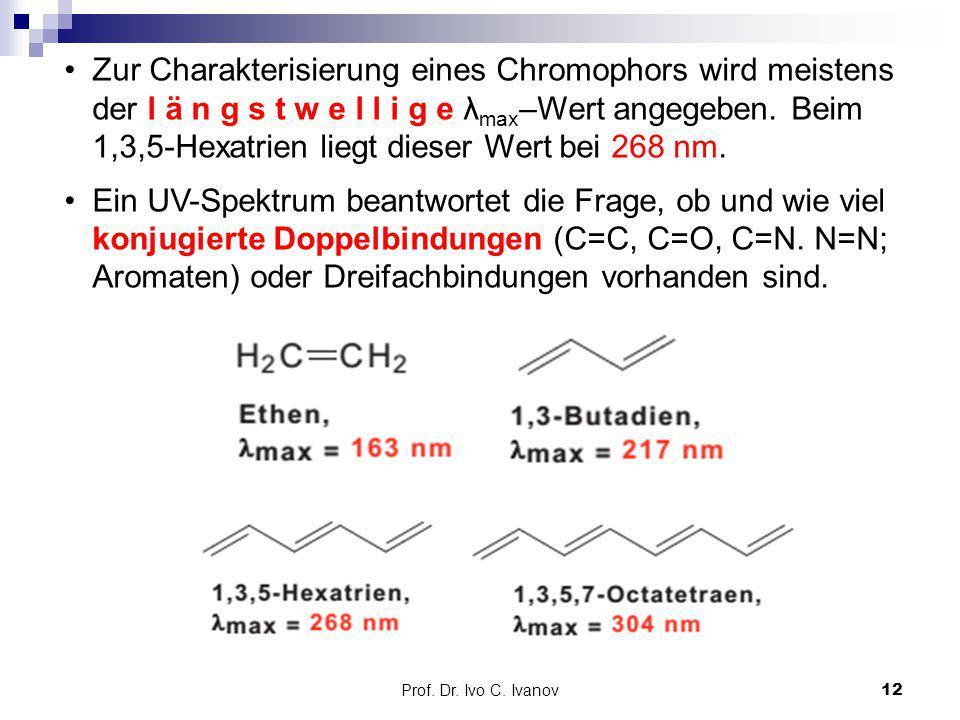 Zur Charakterisierung eines Chromophors wird meistens der l ä n g s t w e l l i g e λmax–Wert angegeben. Beim 1,3,5-Hexatrien liegt dieser Wert bei 268 nm.