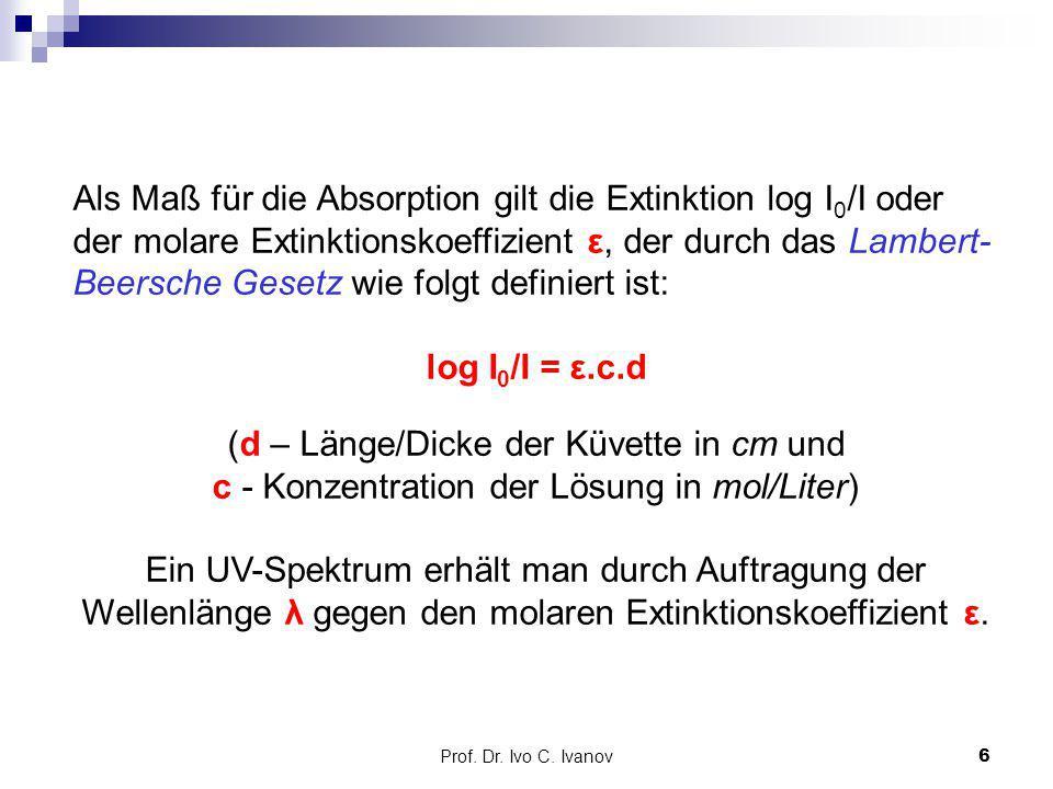 Als Maß für die Absorption gilt die Extinktion log I0/I oder der molare Extinktionskoeffizient ε, der durch das Lambert-Beersche Gesetz wie folgt definiert ist:
