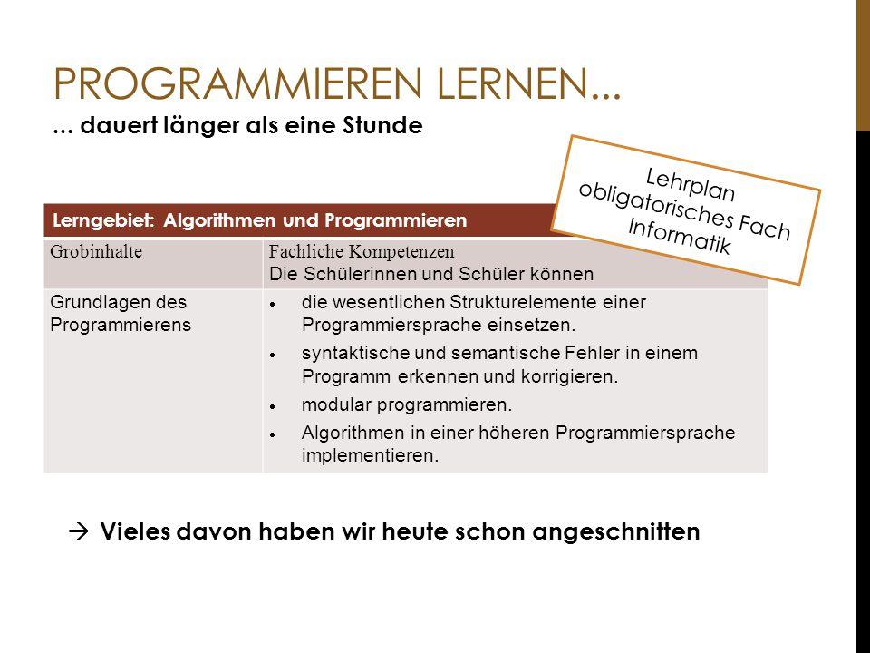 Lehrplan obligatorisches Fach Informatik